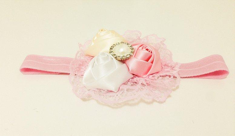 Faixa de Cabelo Floral com Pérola rosa