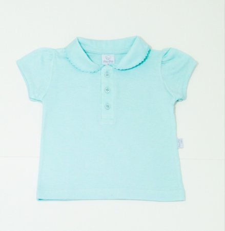 Camisa Pólo Menina Verde Água - PIU PIU