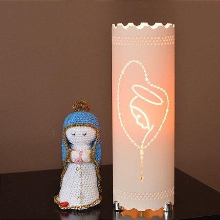 Kit Luminária de mesa decorativa - Terço Nossa Senhora Amigurumi