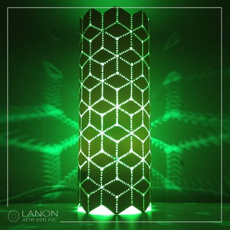 Luminária de mesa decorativa - Geométrica Cubos - Verde