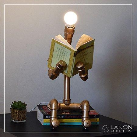 Luminária de mesa decorativa - Robô Articulável - Dourado Metálico