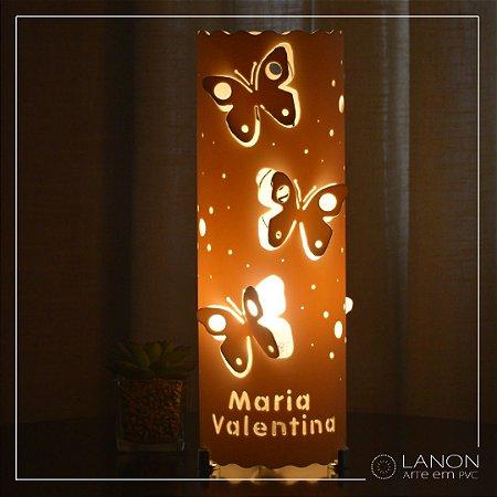 Luminária de mesa decorativa - Borboletas 3D - Amarela