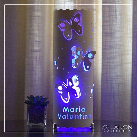 Luminária de mesa decorativa - Borboletas 3D - Azul