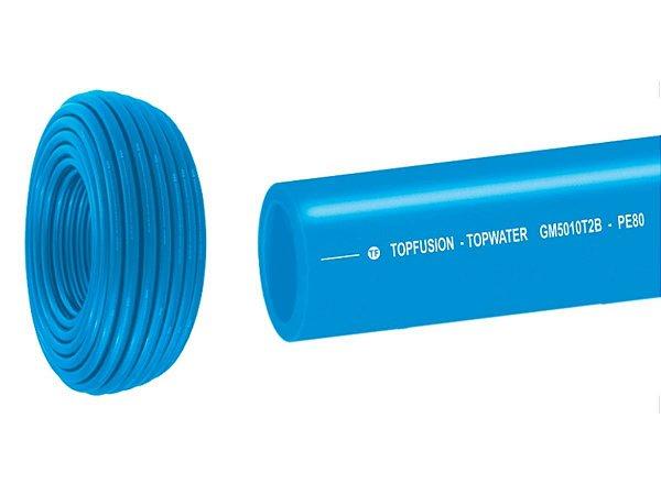 Tubo Pead Pe 80 Azul PN-12,5 Para Água 90mm x 100mts - TopFusion