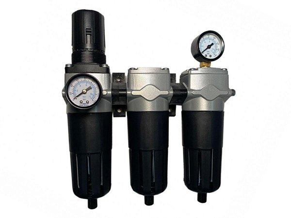 "Conjunto Com 3 Filtros e Regulador de Pressão Industrias Para Ar Comprimido 1/2"" - Werk Schott"