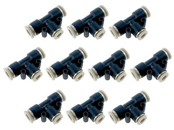 Kit Com 10 Conexões Engate Rápido Pneumática União Em Te Mangueira 10mm – Werk Shott