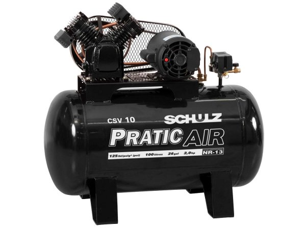 COMPRESSOR DE AR SCHULZ - CSV 10/100 PRATIC AIR - 10 PES 100 LITROS 2HP MONOFASICO