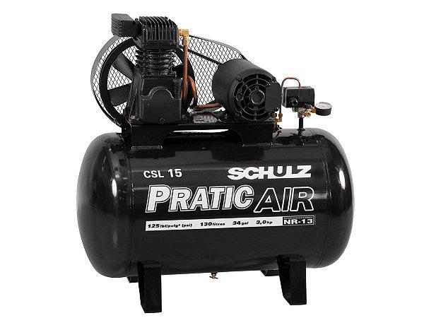 COMPRESSOR DE AR SCHULZ - CSL 15/130 PRATIC AIR - 15 PES 130 LITROS 3HP 110/220V MONO