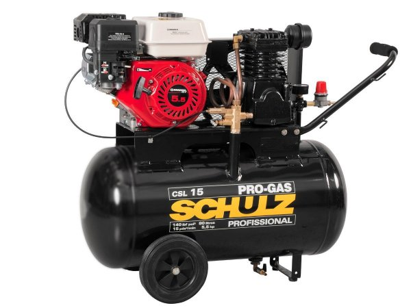 COMPRESSOR DE AR SCHULZ - CSL 15/80 PRO-GAS - 15 PES 80 LITROS 5,5HP GASOLINA