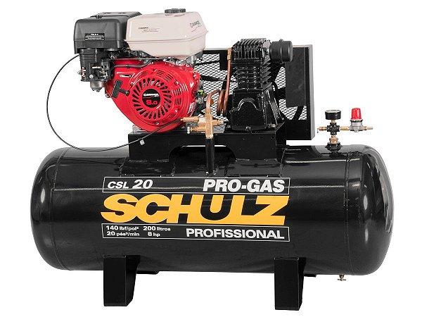 COMPRESSOR DE AR SCHULZ - CSL 20/200 PRO-GAS - 20 PES 200 LITROS 8HP GASOLINA