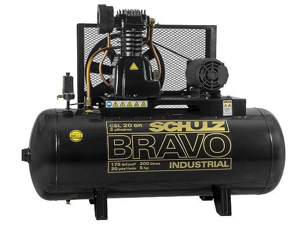 COMPRESSOR DE AR SCHULZ - CSL 20BR/200 BRAVO - 20 PES 200 LITROS 175 LIBRAS 220/380V TRIF