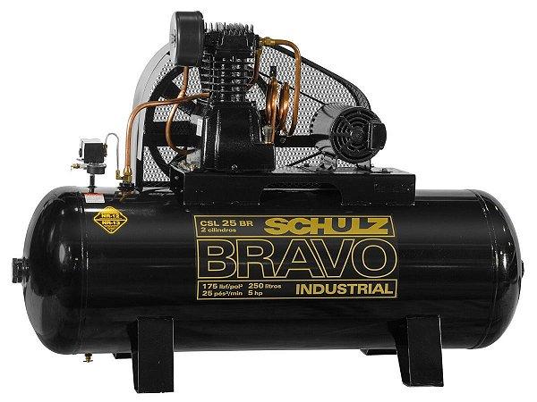 COMPRESSOR DE AR SCHULZ - CSL 25BR/250 BRAVO - 25 PES 250 LITROS 175 LIBRAS 220/380V TRIF