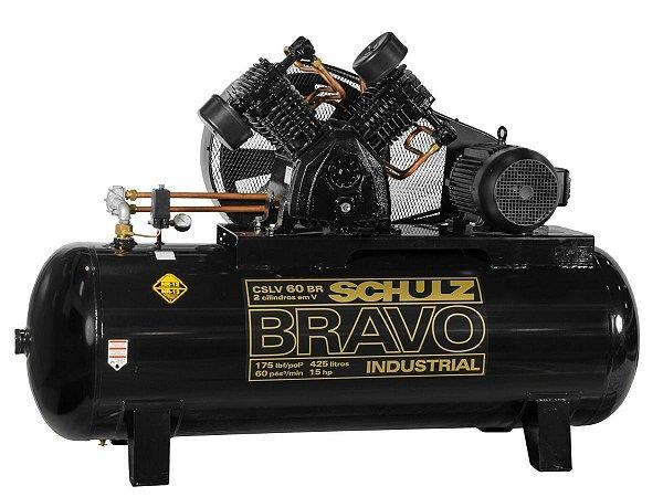 COMPRESSOR DE AR SCHULZ - CSLV 60BR/425 BRAVO - 60 PES 425 LITROS 175 LIBRAS 220/380V TRIF IP55