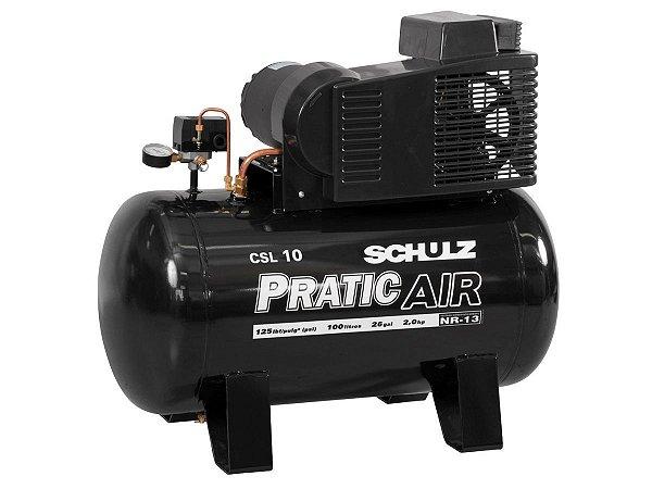 COMPRESSOR DE AR SCHULZ - CSV 10/100 PRATIC AIR - 10 PES 100 LITROS 2HP 220/380V TRIFASICO