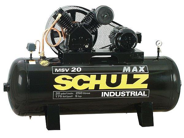 COMPRESSOR DE AR SCHULZ - MSV 20/250 MAX - 20 PES 250 LITROS 175 LIBRAS 220/380V TRIF