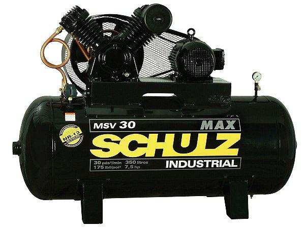COMPRESSOR DE AR SCHULZ - MSV 30/350 MAX - 30 PES 350 LITROS 175 LIBRAS 380/660V TRIF
