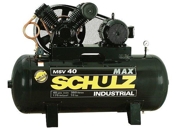 COMPRESSOR DE AR SCHULZ - MSV 40/350 MAX - 40 PES 350 LITROS 175 LIBRAS 220/380V TRIF