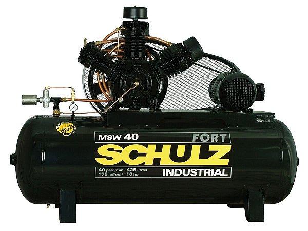 COMPRESSOR DE AR SCHULZ - MSW 40/425 FORT - 40 PES 425 LITROS 175 LIBRAS 220/380/440/760V TRIF (MOTOR BLINDADO)