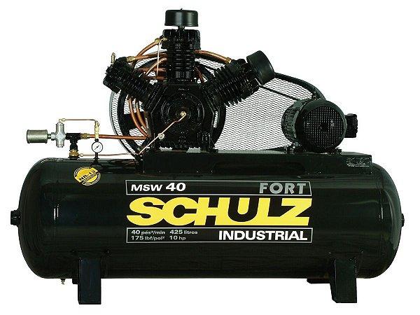 COMPRESSOR DE AR SCHULZ - MSW 40/425 FORT - 40 PES 425 LITROS 175 LIBRAS 220/380V TRIF (MOTOR ABERTO)