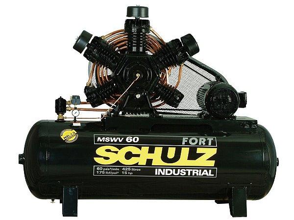 COMPRESSOR DE AR SCHULZ - MSW 60/425 MAX - 60 PES 425 LITROS 175 LIBRAS 220/380/440/760V TRIF