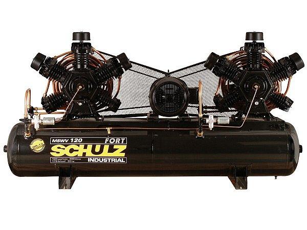 COMPRESSOR DE AR SCHULZ - MSWV 120/460 FORT - 120 PES 460 LITROS 175 LIBRAS CONTINUO 380/660V TRIF (MOTOR BLINDADO)