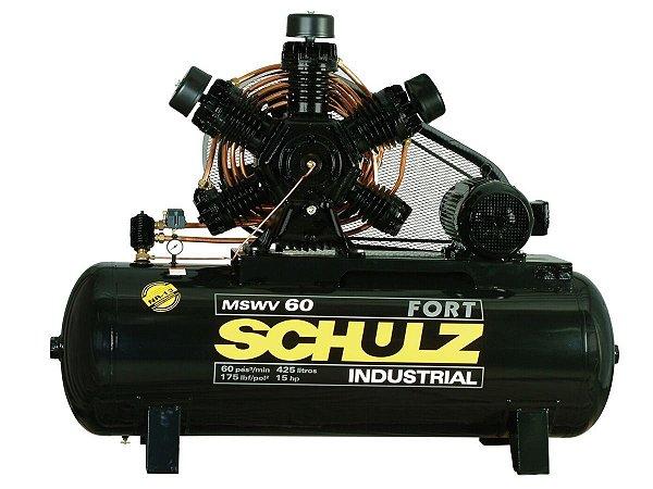 COMPRESSOR DE AR SCHULZ - MSWV 60/425 FORT - 60 PES 425 LITROS 175 LIBRAS 220/380/440/760V TRIF (MOTOR BLINDADO)