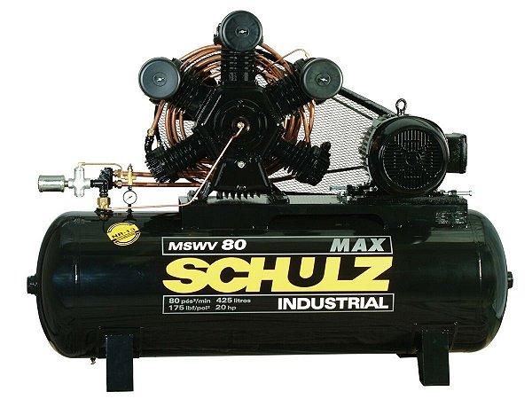 COMPRESSOR DE AR SCHULZ - MSWV 80/425 MAX - 80 PES 425 LITROS 175 LIBRAS 220/380/440/760V TRIF