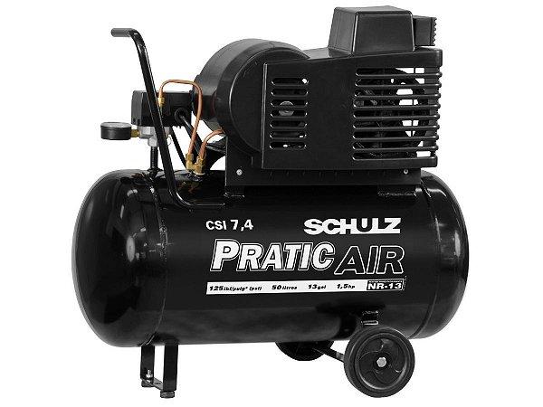 COMPRESSOR DE AR SCHULZ - CSI 7,4/50 PRATIC AIR C/RODAS 110/220V