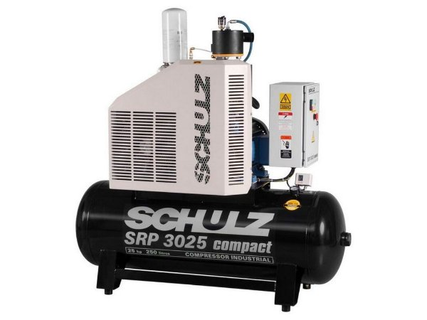 COMPRESSOR DE PARAFUSO SCHULZ SRP 3025 COMPACT 25HP 250 LITROS - 9 BAR