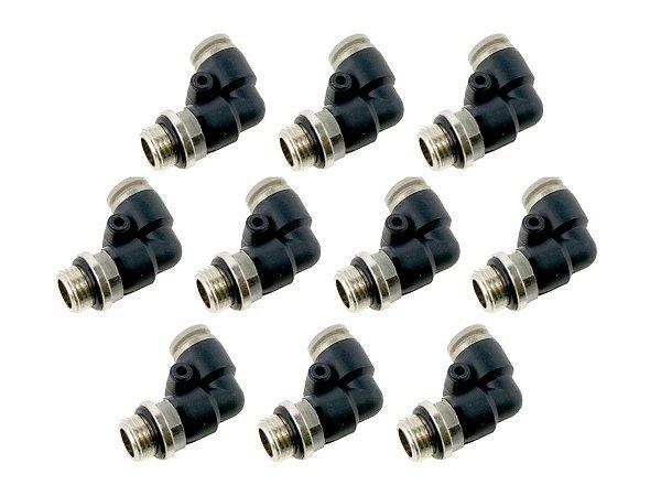 Kit com 10 Conexões Cotovelo Engate Rápido Giratório 1/4 Pol. x 6mm - Werk Schott