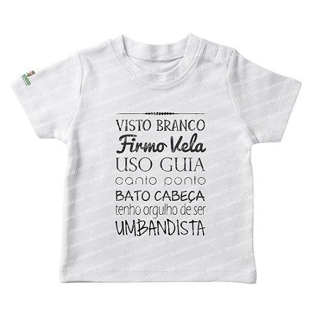 Camiseta Infantil Visto Branco, Firmo Vela, Uso Guia