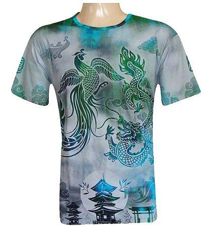 Camiseta São Jorge Dragão Fênix Viscose