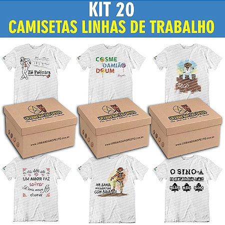 Kit com 20 Camisetas Linhas de Trabalho