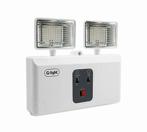 Luminária Emergência Bloco Autômono  LED 2 Faróis - Luz Branca
