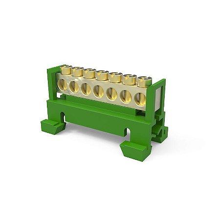 Borneira 7 Furos Trilho DIN Verde
