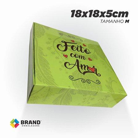 Caixa para Delivery - Feito com Amor - Tamanho M   100 unid.