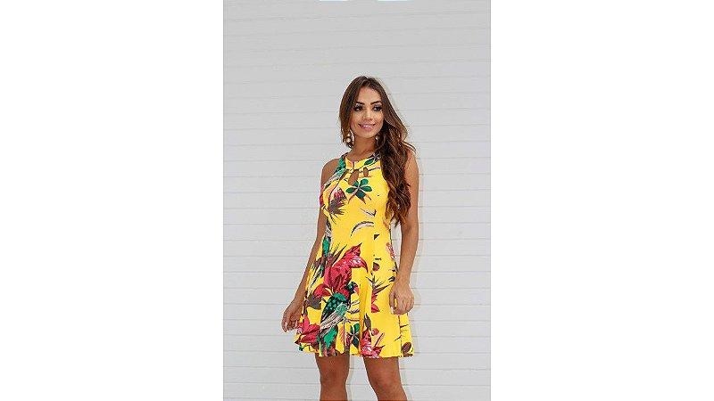 vestido recorte amarelo