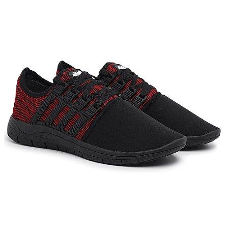 Tênis Caminhada Confortável Colors Preto e Vermelho 15008