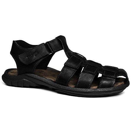 Sandália Papete Masculina de Couro Preto 6500