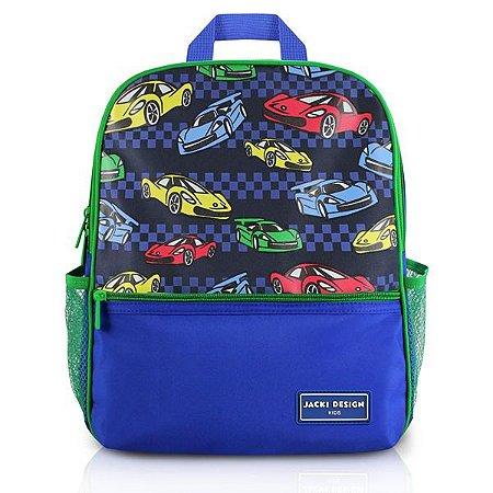 Mochila Escolar - Carro de Microfibra Marca Jacki Design Coleção Sapeka Cor Azul Medidas 26,5 x 32 x 10cm