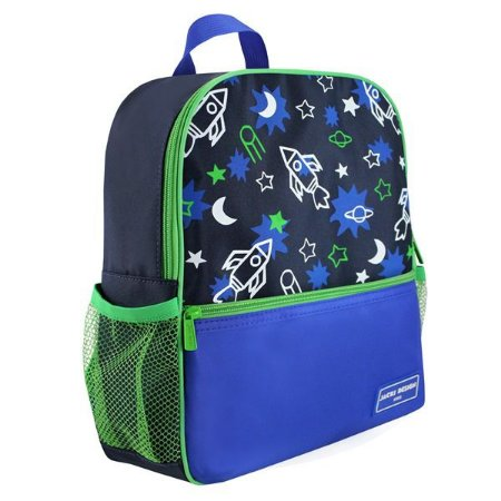 Mochila Escolar - Foguete de Microfibra Marca Jacki Design Coleção Sapeka Cor Azul Medidas 26,5 x 32 x 10cm