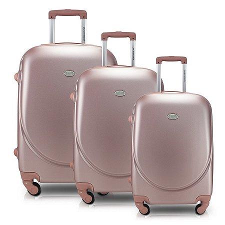 Conjunto de Malas de 3 peças Select  ABS Jacki Design Viagem Rose Gold