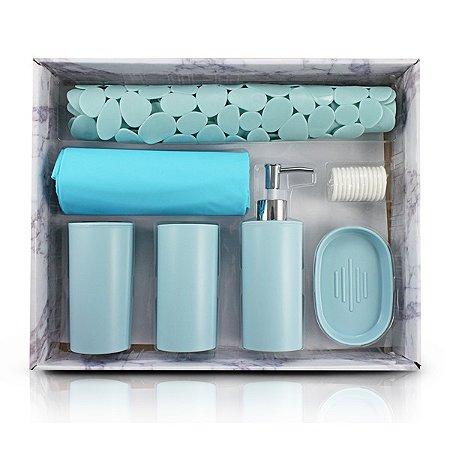 Kit de Banheiro Completo de 7 Peças PP + Cortina: PEVA + Tapete:PVC Jacki Design Cozy