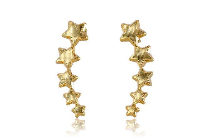 Brinco Ear Cuff  Dourado de Estrelas Folheado