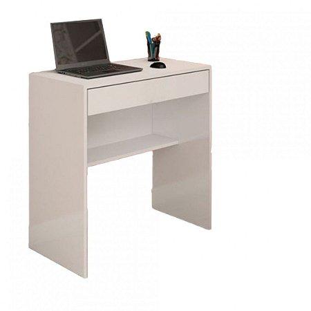 Mesa Escrivaninha Com 1 Gaveta E Prateleira Em Mdf - Branco