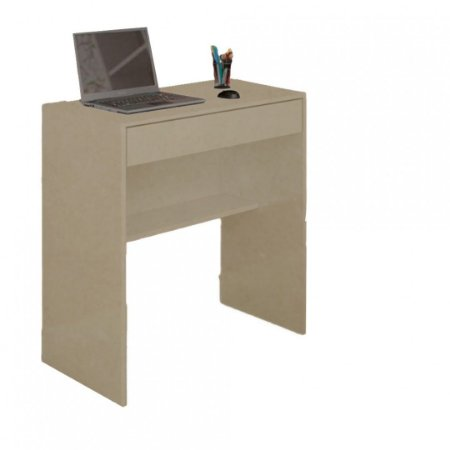 Mesa Escrivaninha Com 1 Gaveta E Prateleira Em Mdf - Natural