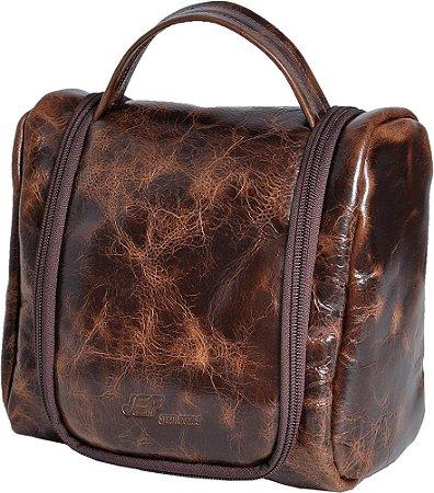 Necessaire Bag Porta Objetos Higiene Em Couro Legítimo