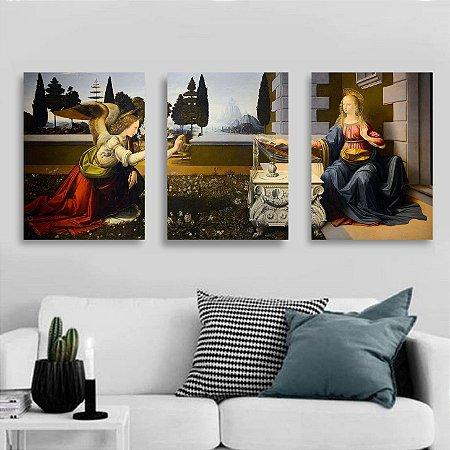 3 Quadros 50x40cm PVC - A Anunciação de Leonardo Da Vinci