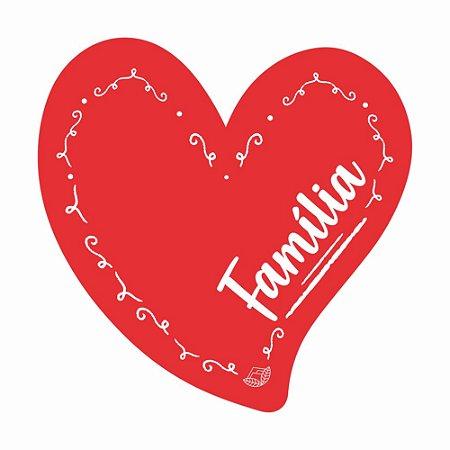 Placa Pequena TAG MDF Decorativa | Formato de Coração | Família