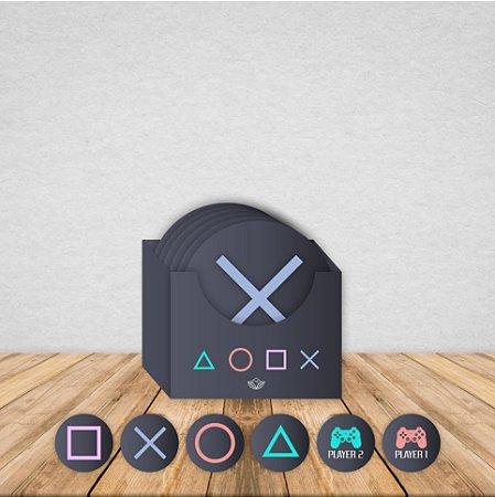 Jogo de 6 Porta Copos Geek Imantizado | PLAYSTATION| Com Caixinha